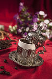 Turkish coffee set. Is an antique cups and ottman stuffs Stock Photography