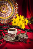 Turkish coffee set. Is an antique cups and ottman stuffs Royalty Free Stock Images