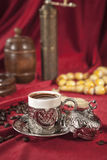 Turkish coffee set. Is an antique cups and ottman stuffs Royalty Free Stock Image