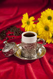 Turkish coffee set. Is an antique cups and ottman stuffs Royalty Free Stock Photo