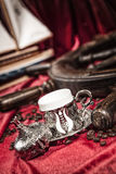 Turkish coffee set. Is an antique cups and ottman stuffs Royalty Free Stock Photos