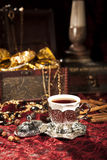 Turkish coffee set. Is an antique cups and ottman stuffs Stock Photo
