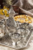 Turkish coffee set. Is an antique cups and ottman stuffs Royalty Free Stock Photography