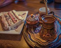 Turkish Coffee with some traditional mediterranean cake royalty free stock photos