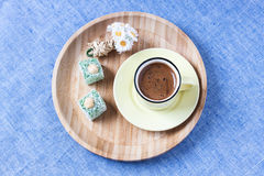Turkish coffee with spring style Royalty Free Stock Image