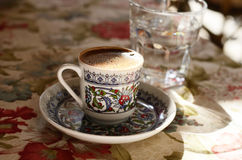 Turkish coffee at street cafe Stock Images