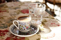 Turkish coffee at street cafe Stock Photo