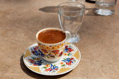 Turkish coffee at the street cafe Royalty Free Stock Photography