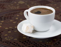 Turkish coffee. Strong turkish coffee and sweets Stock Photography