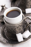 Turkish coffee. With sugar, traditional cup Stock Photos
