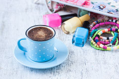 Turkish coffee with summer feminine style Stock Photography