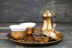 Turkish coffee with traditional copper serving set Royalty Free Stock Photo