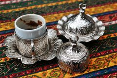 Turkish coffee with traditional cup. And Turkish delight Stock Photography