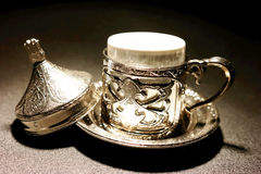Turkish coffee with traditional cup. And Turkish delight Royalty Free Stock Photos