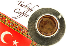 Turkish coffee with traditional embossed metal cup and text Stock Photos