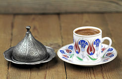 Turkish coffee with traditional ottomans motif cup Royalty Free Stock Photo