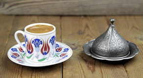 Turkish coffee with traditional ottomans motif cup Stock Images