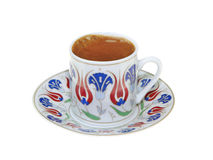 Turkish coffee with traditional ottomans motif cup isolated on white background stock photos