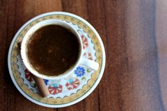 Turkish Coffee. On the brown desk royalty free stock photos