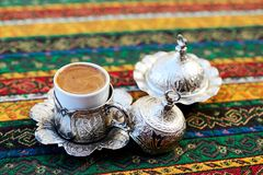 Turkish Coffee. Preparation and presentation Royalty Free Stock Image
