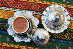 Turkish Coffee. Preparation and presentation Royalty Free Stock Photo