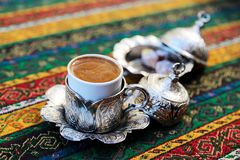 Turkish Coffee. Preparation and presentation Stock Images