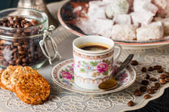 Turkish coffee with Turkish delight Royalty Free Stock Image