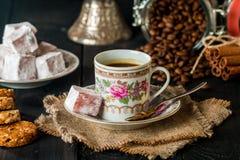 Turkish coffee with Turkish delight Stock Photo