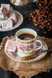 Turkish coffee with Turkish delight Royalty Free Stock Photo