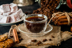 Turkish coffee with Turkish delight Royalty Free Stock Photos