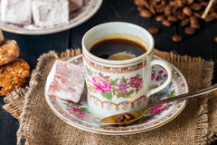 Turkish coffee with Turkish delight Stock Photo
