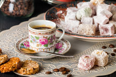 Turkish coffee with Turkish delight Stock Photography