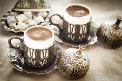 Turkish coffee with turkish delight Royalty Free Stock Photography