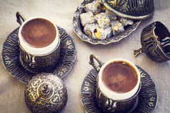 Turkish coffee with turkish delight Royalty Free Stock Images