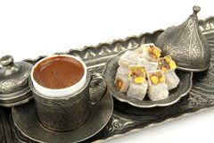 Turkish coffee and turkish delight with traditional cup and tray Royalty Free Stock Images