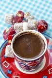 Turkish coffee and turkish delight. Turkish coffee with delight and traditional copper serving set royalty free stock photos