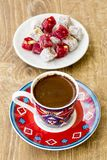 Turkish coffee and turkish delight. Turkish coffee with delight and traditional copper serving set royalty free stock images