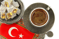 Turkish coffee and turkish delight on white background Royalty Free Stock Photo