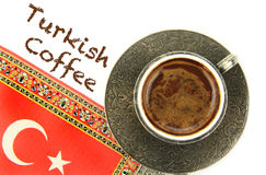 Turkish coffee and turkish flag Royalty Free Stock Photography
