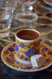 Turkish Coffee with turkish sweets. Stock Photos