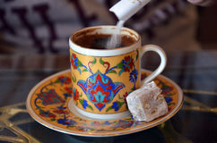 Turkish Coffee with turkish sweets. Royalty Free Stock Photos