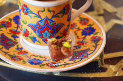 Turkish Coffee with turkish sweets. Stock Image