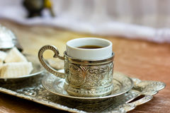 Turkish coffee and Turkish sweets lokum Stock Photography