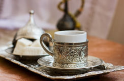 Turkish coffee and Turkish sweets lokum Royalty Free Stock Photos