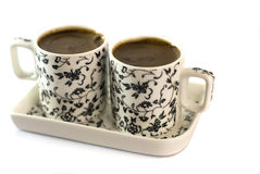 Turkish coffee in two cups Royalty Free Stock Image