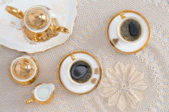 Turkish Coffee for Two on Elegant White Table Royalty Free Stock Photography