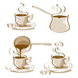Turkish Coffee Vector. Drawn in 4 different ways and Turkish coffee pot drawings Royalty Free Stock Photography