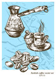 Turkish coffee vector set. Hand drawn illustration. Vintage style Stock Images