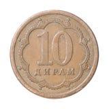 Turkish coin. Tajik ten diram on a white background Stock Photo