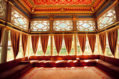 Turkish colorful ceiling in traditional Ottoman room Royalty Free Stock Photo